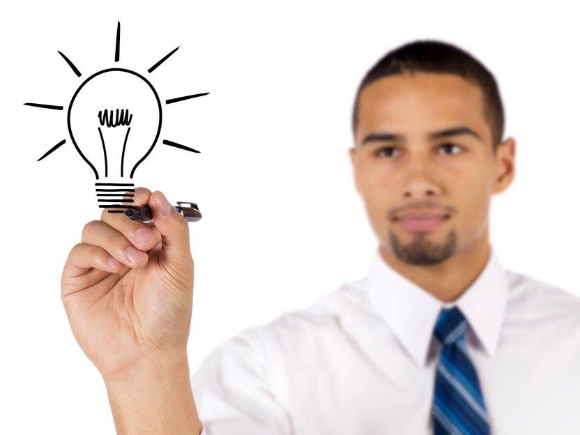 man sketch a bulb